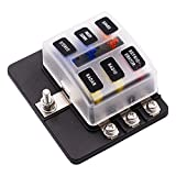6-Way Blade Fuse Box Block Holder with 12PCS Fuse LED Indicator Waterpoof Cover for Automotive Car Marine Boat