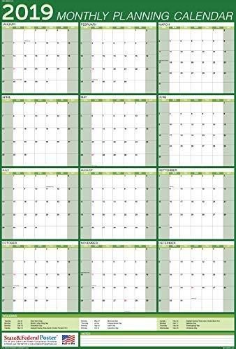 (2019 Vertical Monthly Planning Calendar (Green) Laminated, Erasable Calendar 27 x 40