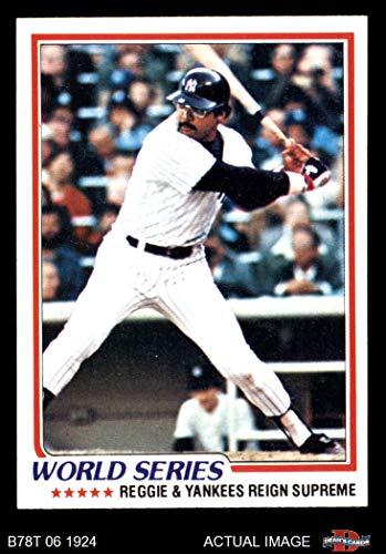 1978 Topps # 413 1977 World Series - Reggie and Yankees Reign Supreme Reggie Jackson New York Yankees (Baseball Card) Dean's Cards 7 - NM Yankees