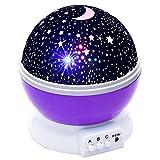 TopOne Led Night Light Kid Bedroom Lamp 360 Degree Rotating Projection Light Romantic Light Cosmos Star Purple