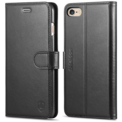 iPhone 6s Plus Case, iPhone 6 Plus case, SHIELDON Flip Folio [Kickstand Feature] Genuine leather Wallet Case with ID & Credit Card Pockets for iPhone 6 Plus / 6S Plus 5.5, Black (Leather Wallet 6 Iphone Men Case)