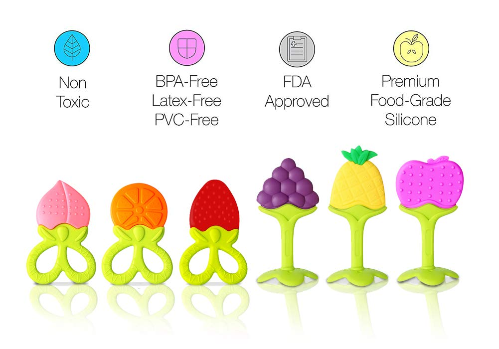 Baby Teether Toys VDROL BPA Free Fruit Teethers Set, Natural Silicone Soother Massage Teethers Soft for Babies, Infant, Toddlers with Pacifier Clip (7 Pack)