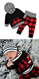 2pcs Outfit Newborn Baby Boy Girl Long Sleeve Black Hoodie with Check Pocket Tops Plaid Long Pants Clothes 0 - 6 Months