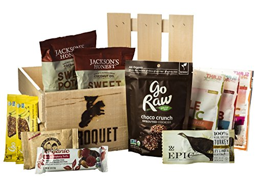 Paleo Snack Gift Crate - 9 Healthy Paleo Snacks - Comes in a Wooden Gift Crate - Great Gift For Men - Paleo Friendly - Snack Gift