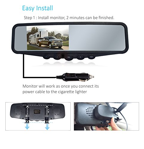 Wireless Backup Camera System, IP69K Waterproof Wireless License Plate Rear View Camera, Night Vision and 4.3'' Wireless Mirror Monitor for Cars, Trailer, RV, Pickup Trucks, Cargo Vans, etc. by yuwei (Image #1)