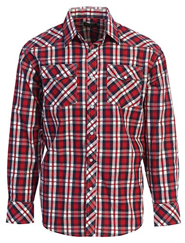 Gioberti Men's Western Plaid Long Sleeve Shirt with Pearl Snap-on, Red/Navy/White, Medium