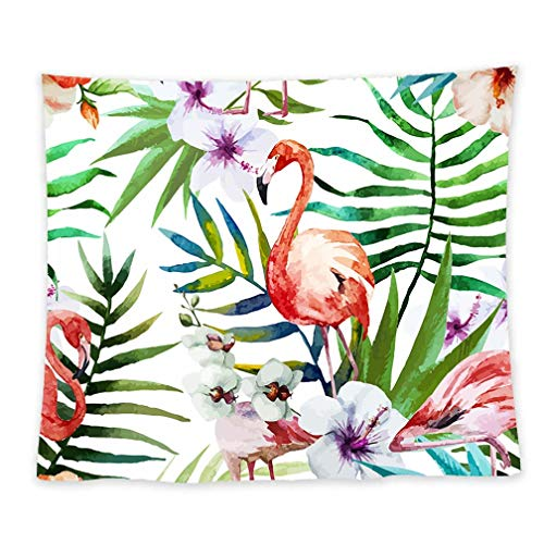 - ULOVE LOVE YOURSELF Flamingo Tapestry Wall Hanging with Green Leaves Pattern Tropical Style Wall Tapestries for Living Room Bedroom Dorm Home Wall Decor 51