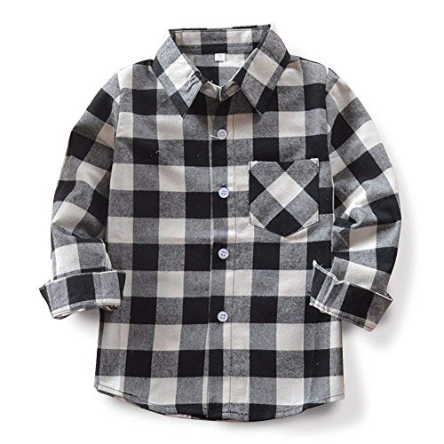 Kid Girl Boy Long Sleeve Button Down Plaid Flannel Shirt Black White Tag 100-US 2T -