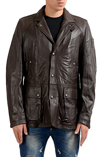Belstaff Leather - Belstaff Men's 100% Leather Dark Brown Full Zip Jacket US L IT 52
