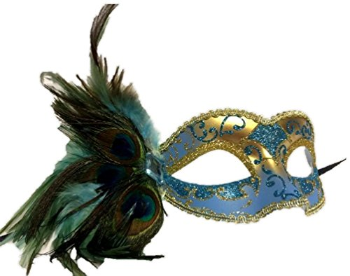 Gold Venetian Half Mask With Hat (Venetian Style Mask Masquerade Side Peacock Feathers Halloween Adult Men Women)