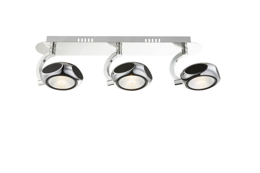 LED Deckenstrahler 3 flammig Decken Spot Deckenlampe bewegliche Spots Strahler Flur Lampe Glas (Deckenleuchte, Deckenlicht, Schienensystem, Wohnzimmer Leuchte, 49 cm, 3 x 6 Watt, warmweiß, EEK A+) warmweiß Globo