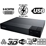 2015 SONY BDP-S5500 2D/3D - Wi-Fi - Multi System Region Free Blu Ray Disc DVD Player - PAL/NTSC - USB - 100-240V 50/60Hz for World-Wide Use & 6 Feet HDMI Cable