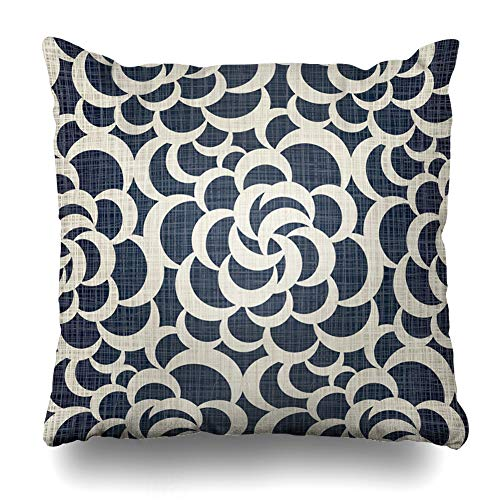 DIYCow Throw Pillows Covers Tan Plaid Dark Blue Jeans Openwork Drawing Jacquard Home Decor Pillowcase Square Size 18 x 18 Inches Cushion Case