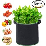 5-Pack 5 Gallon Garden Plant Grow Bags for Potato, Carrot, Tomato, Onion/Smart Plant Container Thickened Nonwoven Plant Fabric Pots with Handles