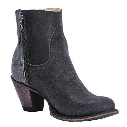 FM1101 Womens Regina Black Leather Booties Western Cowboy Ankle Boots Black