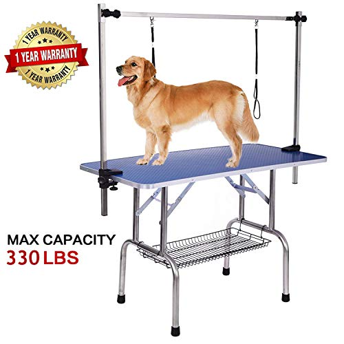 Pet Grooming Table for Large Dogs Adjustable Professional – Portable Trimming Drying Table w/Arm/Noose/Mesh Tray, Maximum Capacity Up to 330LB