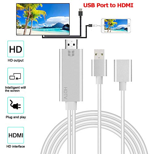 JPOQW USB Female to HDMI Cable Adapter 2 in1 HD 1080P Adapter Cable Cord for iPhone XS /XS ()