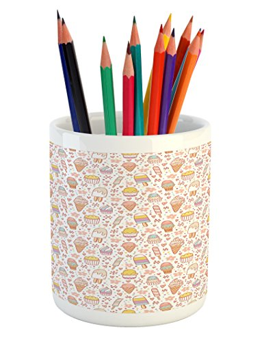 Ambesonne Ice Cream Pencil Pen Holder, Cute Candies and Yumm