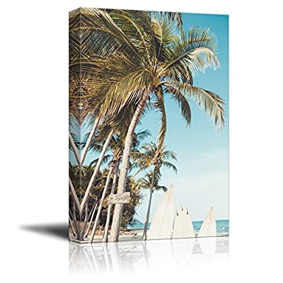 Canvas Wall Art - Summer Beach View with Palm Trees and Surf Boards - Giclee Print Gallery Wrap Modern Home Art Ready to Hang - 32x48 inches