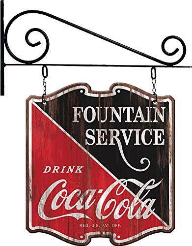 Coca-Cola Reproduction Vintage Advertising Sign Double Sided Hanging Metal Wood Display - 28 x 24 inches