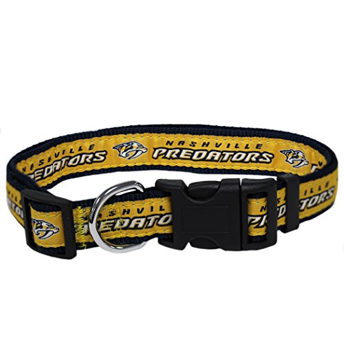 Pets First NHL NASHVILLE PREDATORS COLLAR for DOGS & CATS, Large. - Adjustable, Cute & Stylish! The Ultimate HOCKEY FAN Collar!