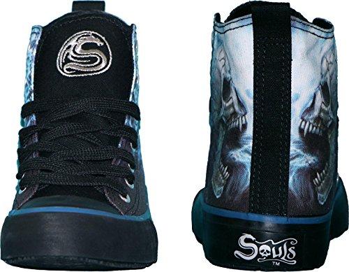 Spiral Flaming Spine Sneaker Schuh Tattoo Biker Reaper Gothic, Schwarz