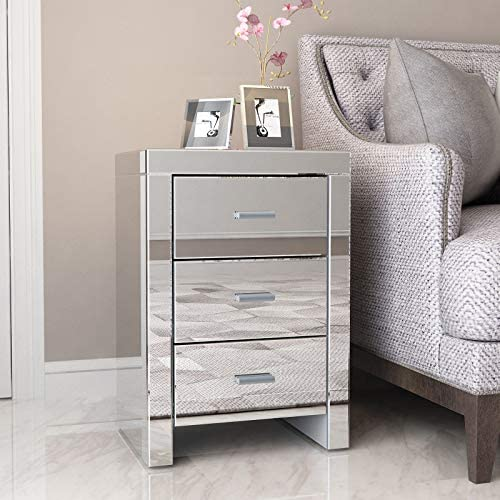 Mecor Mirrored End Table 3 Drawers Mirror Accent Side Table Silver Finished Nightstand for Living Room Bedroom Silver