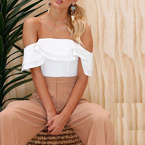 Blanc Femme Blouse Top Bardot Court Manches OVERDOSE Volantes Chemises paules Sexy Dnudes pPxTqwF