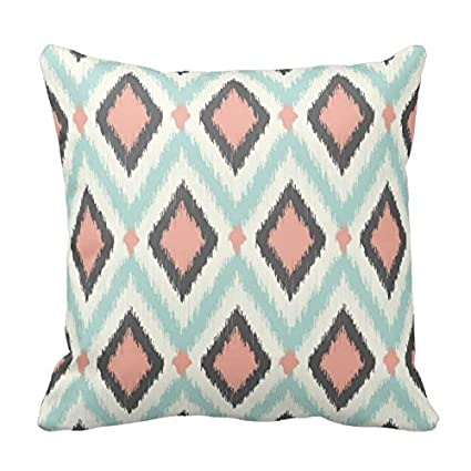 Amazon.com: Mint Green and Coral Ikat Pattern Pillow Square ...