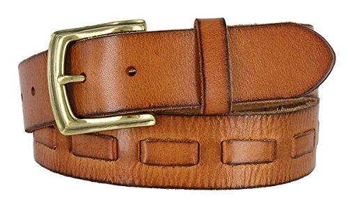Hagora Men's Full Grain Real Leather Interwoven Style 1-1/2