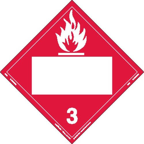 Labelmaster ZVR2 Flammable Liquid Hazmat Placard, Blank, Removable Vinyl (Pack of 25)