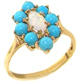 18k Yellow Gold Natural Opal and Turquoise Womens Cluster Ring - Sizes 4 to 12 Available