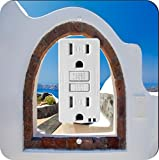 Rikki Knight 8976 Greek White Washed Window To Paradise Design Light Switch Plate