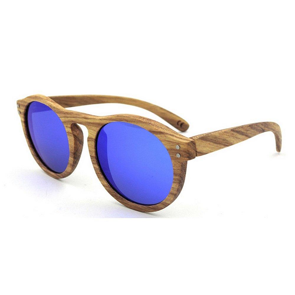 blueee Unisex Sunglasses Retro Round Natural Zebra Wood Sunglasses Polarized Lens UV Predection for Men Women Fashion Sunglasses (color   Brown)
