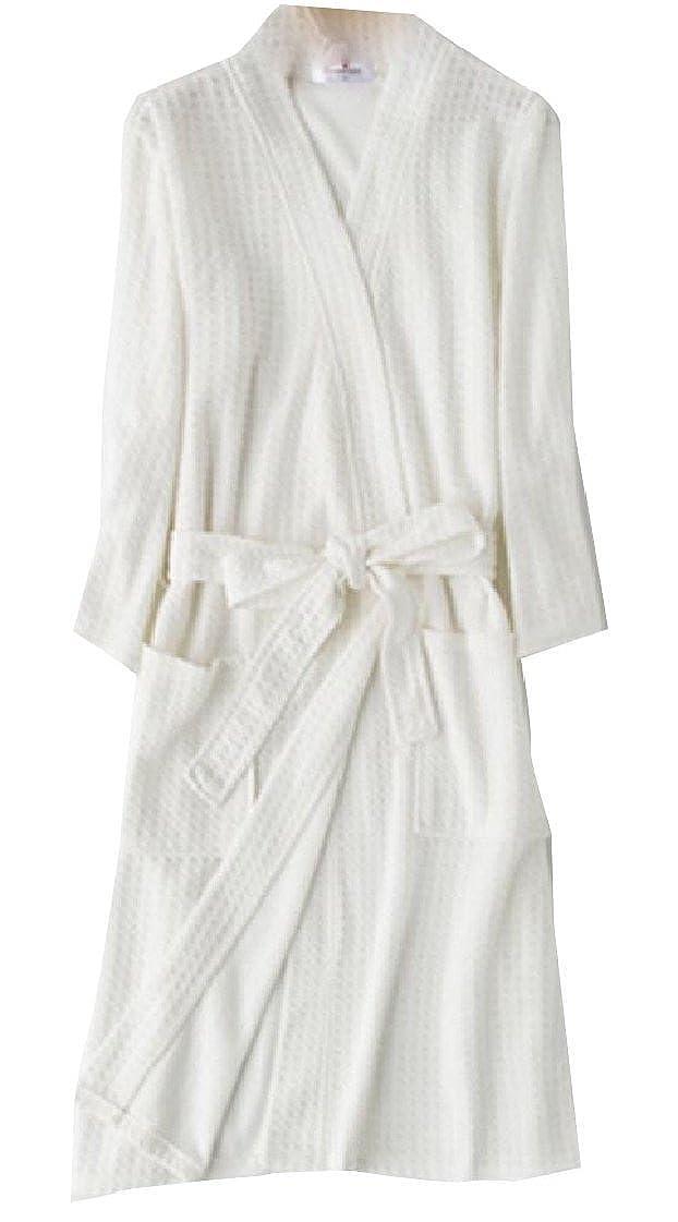 Jaycargogo Mens Waffle Bathrobe 3//4 Long Sleeves Kimono Lightweight Pajamas Hotel