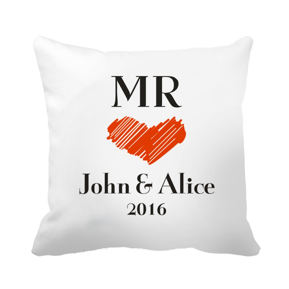 "CiCiDi Custom Name Mr Love Heart Wedding Anniversary Gift Canvas Cotton Ornamental Throw Pillow 18""x 18"""