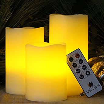 Flameless Candles by LED Lytes, Set of 3 Ivory Wax with Amber yellow Flame, Flickering LED Candles, auto-off Remote Control