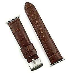 APPLE WATCH BAND Replacement band for APPLE WATCH 42mm in Stainless steel Leather Gator Strap (Brown)