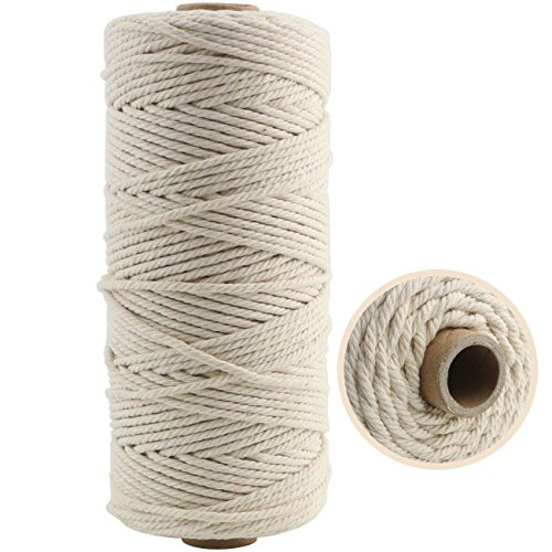 TinaWood 3mm Natural Virgin Cotton Cord (about 110 yd)/ Twine String/ Macrame Yarn Soft Undyed Natural Color Rope - Best for Plant Hanger Wall Hanging Craft Making and DIY (Beige 3mmx110yd)