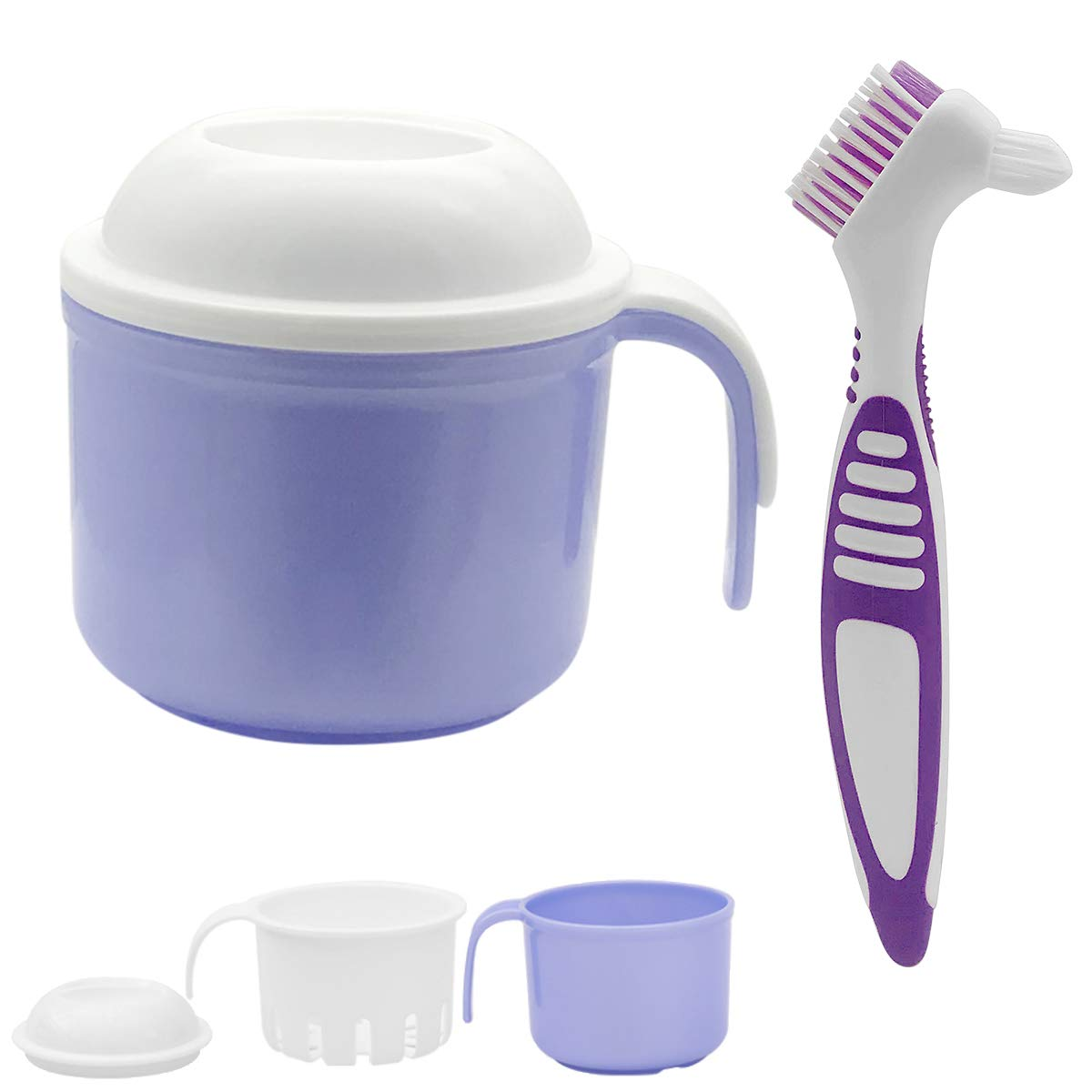 Denture Bath Cases Cleaner Brushes, Denture Holder Brush Retainer with Handle, Dentures Container with Removable Strainer Basket Holder : Beauty