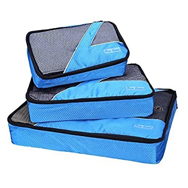 Travel Packing Cubes - 3 pc Set - Packing Organizers for Accessories(Blue)