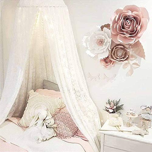 (Dix-Rainbow Princess Girls Bed Canopy, Lace Crib Canopy Round Dome, Fairy Net for Kids Bed, Kids Play Tent Castle, Reading Nook Canopy for Girls, Babies & Toddlers Height 270cm/107in White)