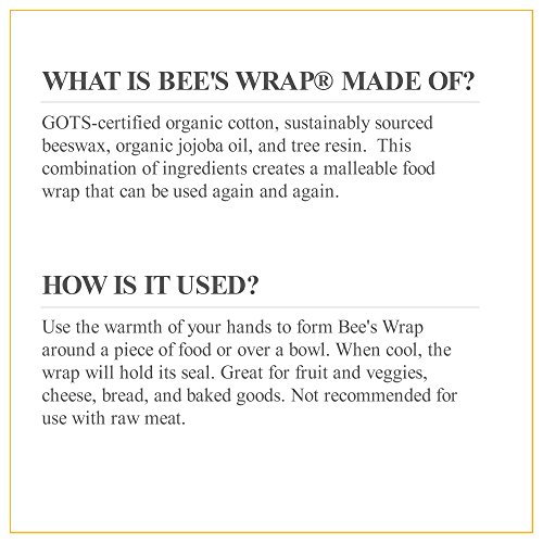 Bee's Wrap Eco Friendly Reusable Food Wraps, Sustainable Plastic Free Food Storage, Assorted 3 Pack