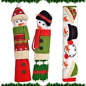 OUGAR8 Adorable Christmas Refrigerator Handle Covers Set | Cute & Practical Fridge Handle Cover| Protective Kitchen Appliance Handle Covers | Fun Snowman Design | Perfect Idea