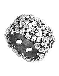 Sterling Silver Women's Plumeria Flower Eternity Ring Cute 925 Band Sizes 5-10
