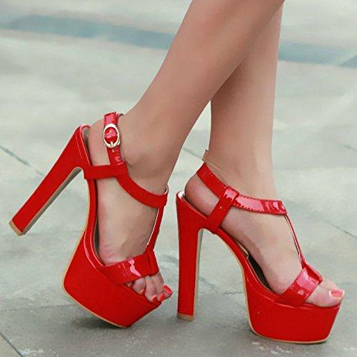 Open Pump Strap Sandal Sandals Formal T Platform Red Dress Heel High SaraIris Women's Toe Yfaqwfp