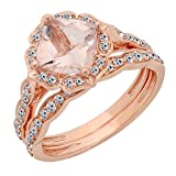 14K Rose Gold 7.5 MM Cushion Gemstone & Round Diamond Ladies Bridal Engagement Ring With Band Set