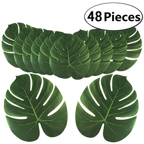 Home & Garden 48pcs Artificial Tropical Palm Leaves Simulation Leaf Hawaii Luau Party Table Decorations Beach Wedding Table Decoration Comfortable And Easy To Wear