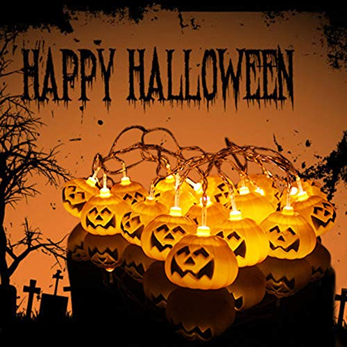 (Auwer 1.5M String Lights 3D Pumpkin 10 LED Lights Battery Lantern String Halloween Christmas Decoration Lights)