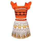 TiaoBug Kids Princess Adventure Skirt Set Outfits Little Girls Cosplay Costume Holiday Party Fancy Dress Up Orange 5-6